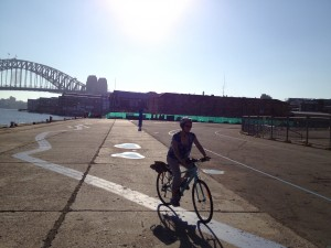 Riding in Sydney (no pedestrians or motorists in sight)